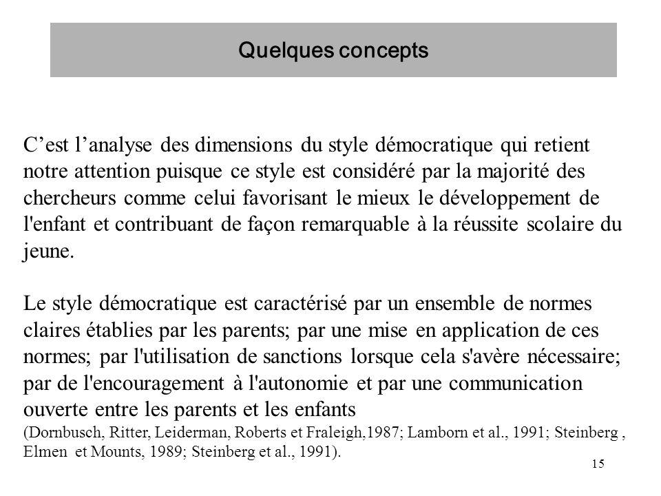 15 Cest lanalyse des dimensions du style démocratique qui retient notre attention puisque ce style est considéré par la majorité des chercheurs comme