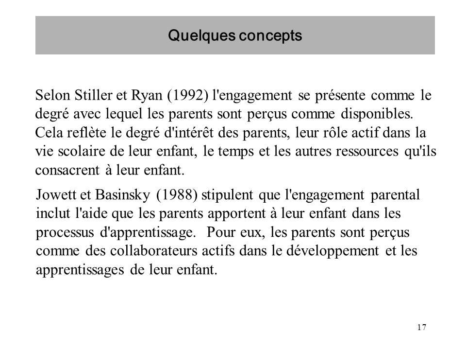 17 Selon Stiller et Ryan (1992) l'engagement se présente comme le degré avec lequel les parents sont perçus comme disponibles. Cela reflète le degré d