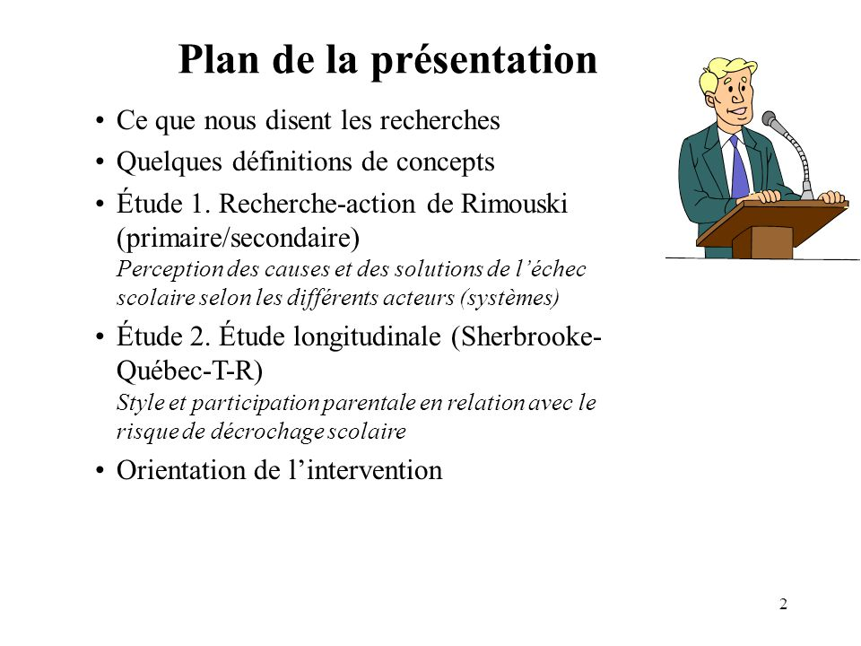 2 Plan de la présentation Ce que nous disent les recherches Quelques définitions de concepts Étude 1. Recherche-action de Rimouski (primaire/secondair