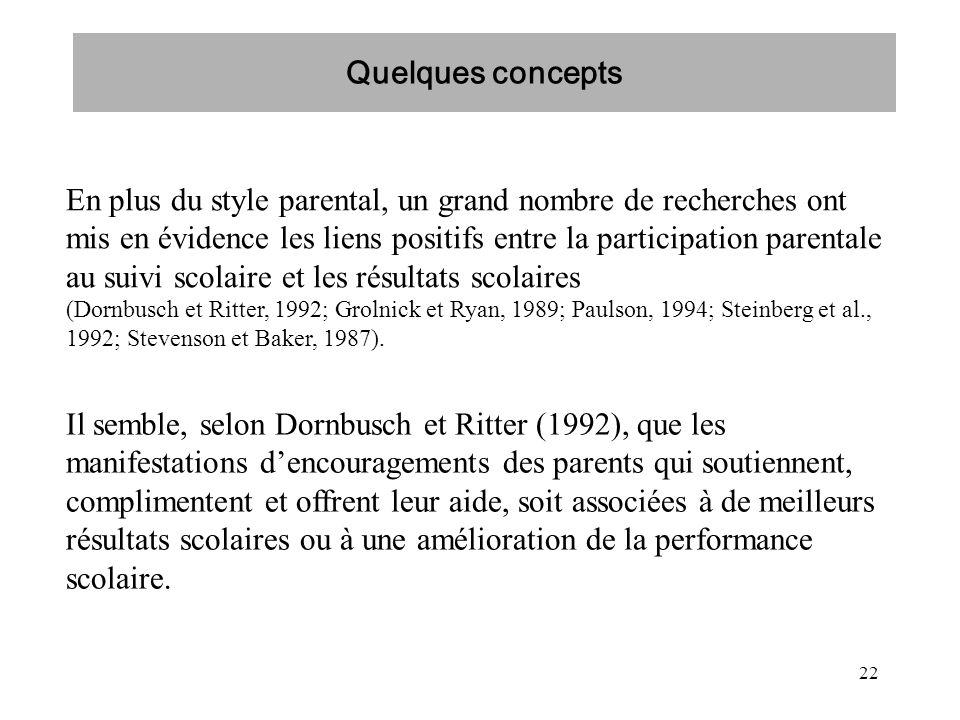 22 En plus du style parental, un grand nombre de recherches ont mis en évidence les liens positifs entre la participation parentale au suivi scolaire