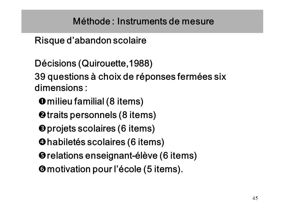 45 Méthode : Instruments de mesure Risque dabandon scolaire Décisions (Quirouette,1988) 39 questions à choix de réponses fermées six dimensions : mili