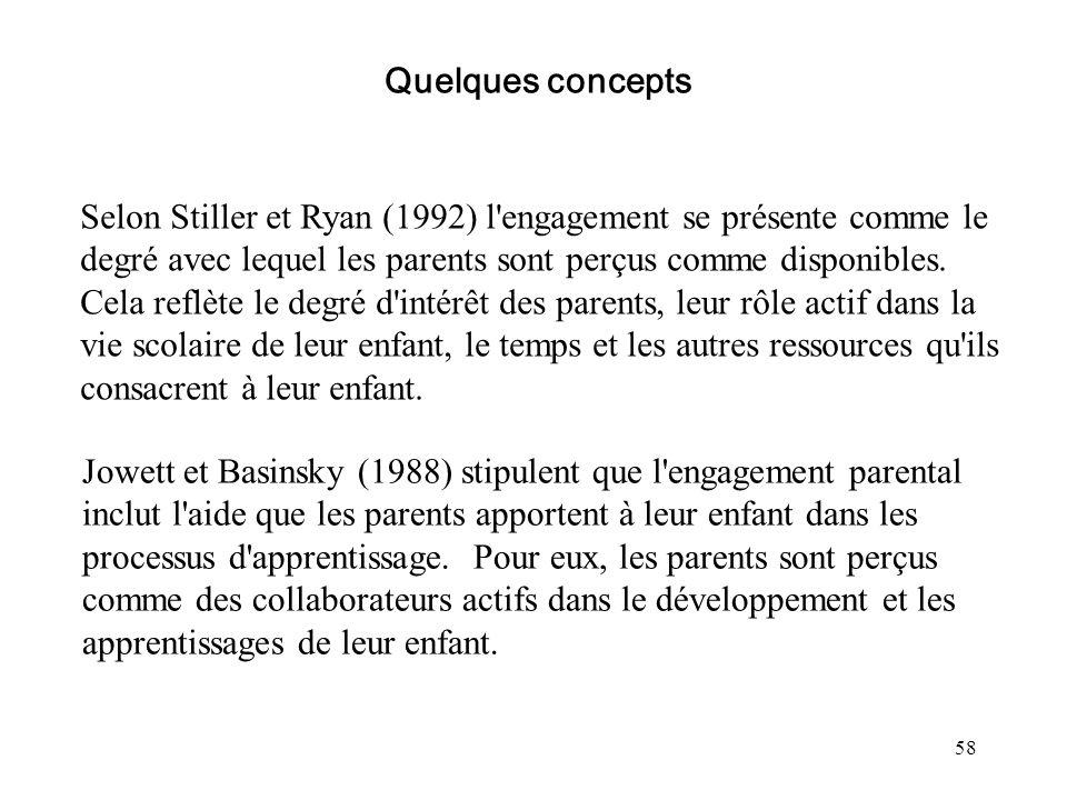 58 Selon Stiller et Ryan (1992) l'engagement se présente comme le degré avec lequel les parents sont perçus comme disponibles. Cela reflète le degré d