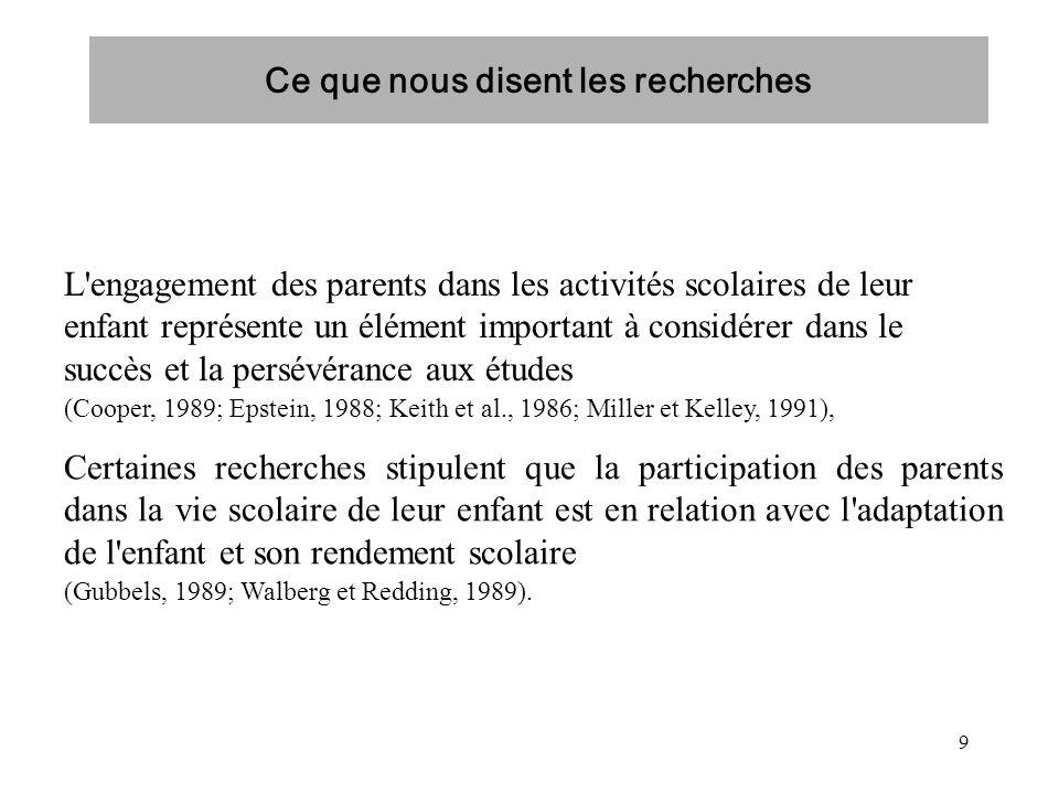 9 L'engagement des parents dans les activités scolaires de leur enfant représente un élément important à considérer dans le succès et la persévérance