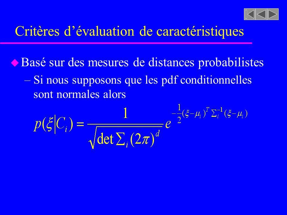 Critères dévaluation de caractéristiques u Basé sur des mesures de distances probabilistes –Si nous supposons que les pdf conditionnelles sont normale