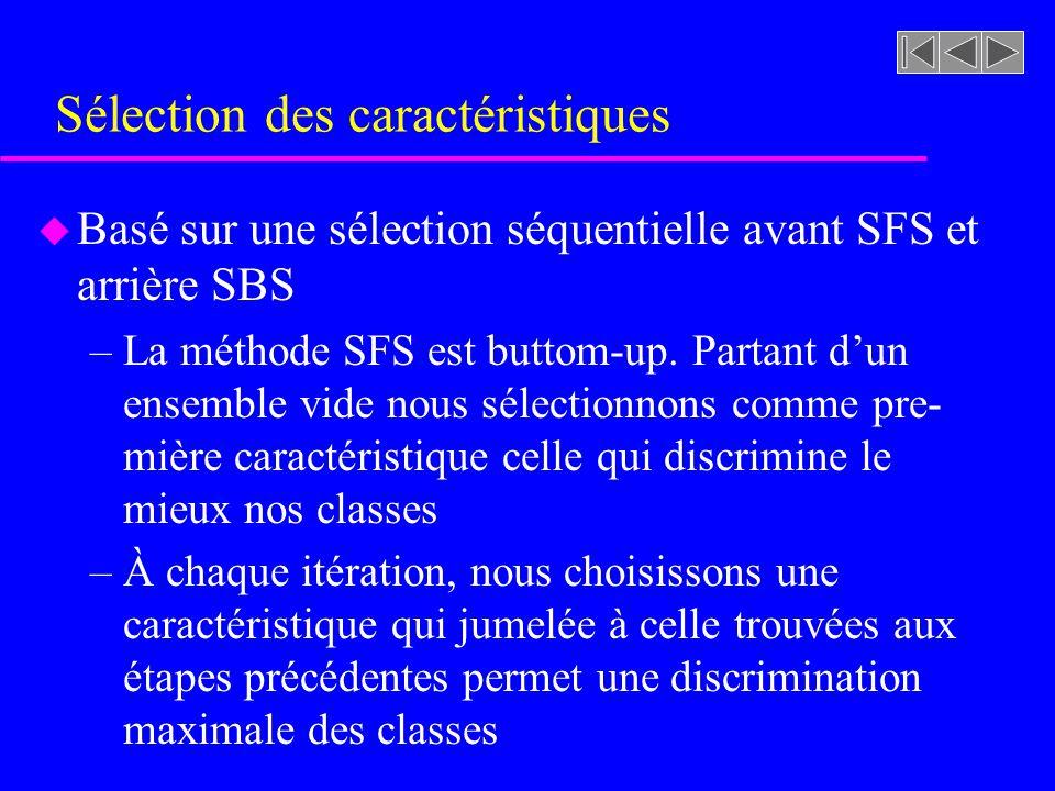 Sélection des caractéristiques u Basé sur une sélection séquentielle avant SFS et arrière SBS –La méthode SFS est buttom-up. Partant dun ensemble vide