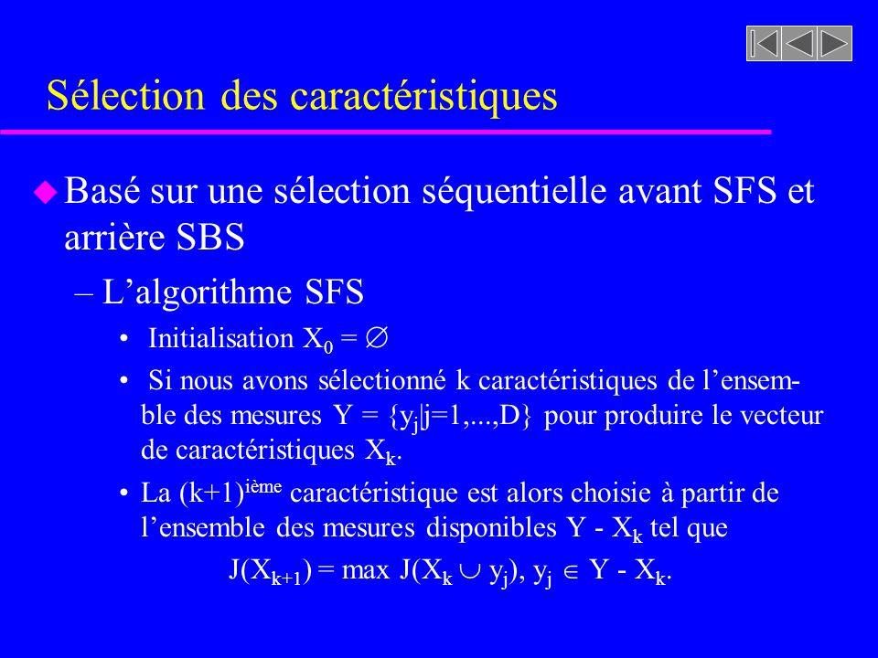 Sélection des caractéristiques u Basé sur une sélection séquentielle avant SFS et arrière SBS –Lalgorithme SFS Initialisation X 0 = Si nous avons sélectionné k caractéristiques de lensem- ble des mesures Y = {y j |j=1,...,D} pour produire le vecteur de caractéristiques X k.