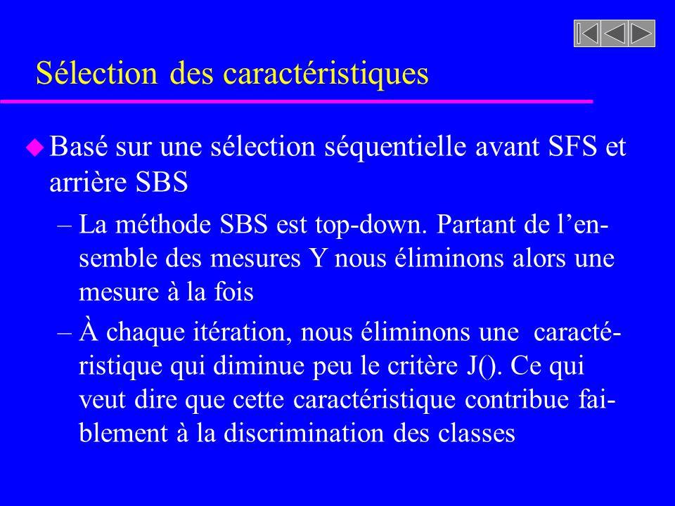 Sélection des caractéristiques u Basé sur une sélection séquentielle avant SFS et arrière SBS –La méthode SBS est top-down. Partant de len- semble des