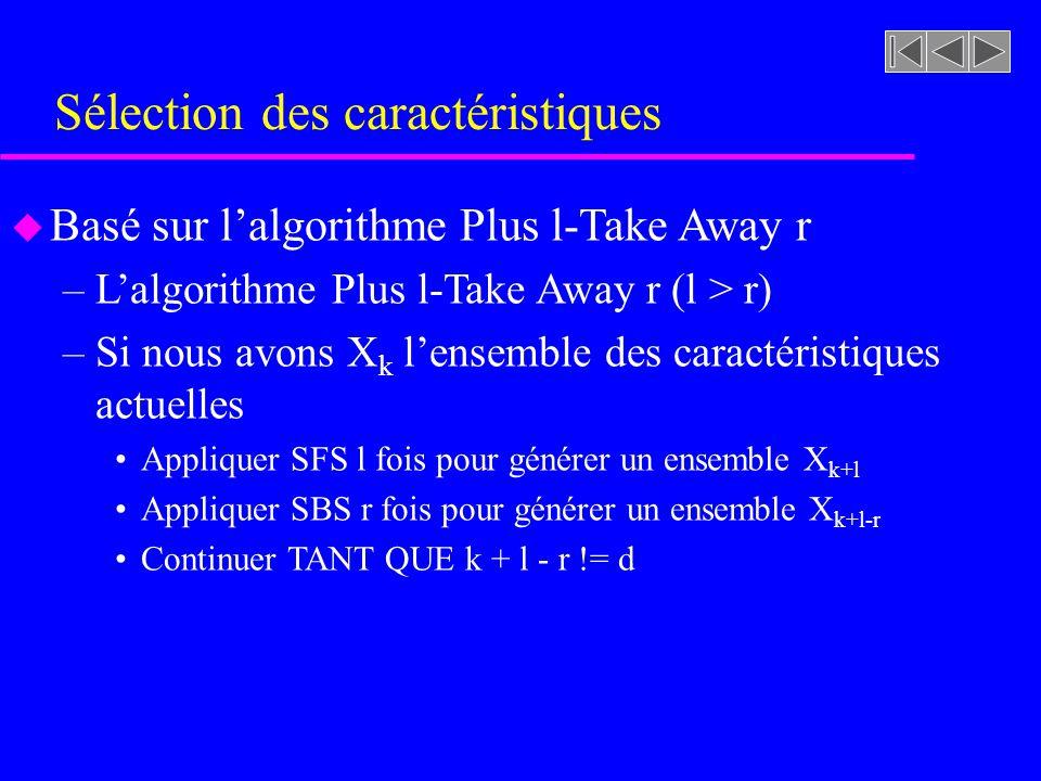 Sélection des caractéristiques u Basé sur lalgorithme Plus l-Take Away r –Lalgorithme Plus l-Take Away r (l > r) –Si nous avons X k lensemble des cara