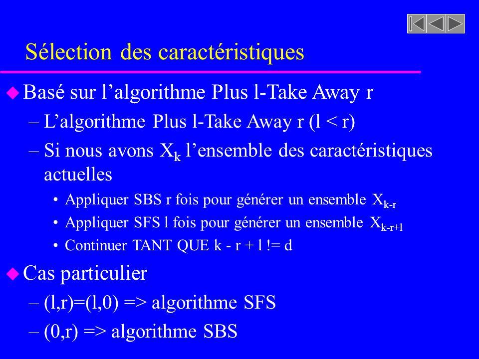 Sélection des caractéristiques u Basé sur lalgorithme Plus l-Take Away r –Lalgorithme Plus l-Take Away r (l < r) –Si nous avons X k lensemble des cara