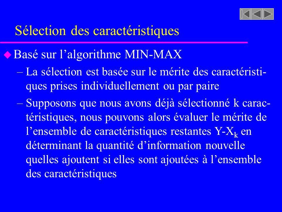Sélection des caractéristiques u Basé sur lalgorithme MIN-MAX –La sélection est basée sur le mérite des caractéristi- ques prises individuellement ou