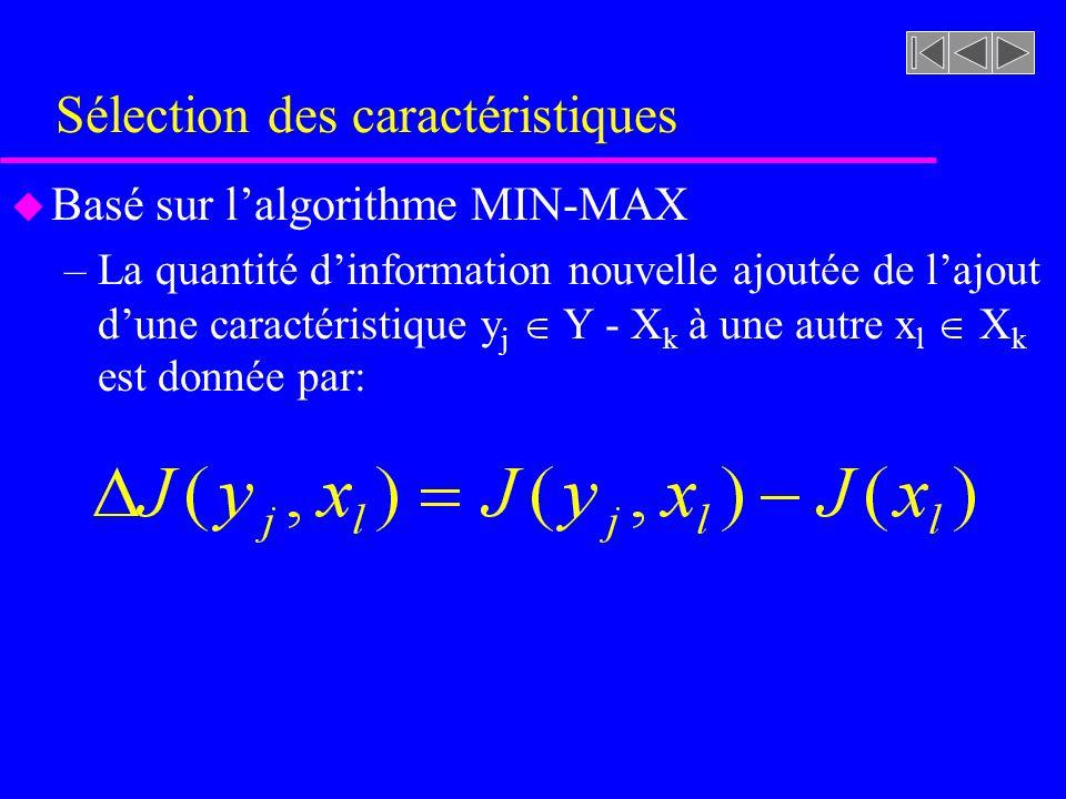 Sélection des caractéristiques u Basé sur lalgorithme MIN-MAX –La quantité dinformation nouvelle ajoutée de lajout dune caractéristique y j Y - X k à une autre x l X k est donnée par: