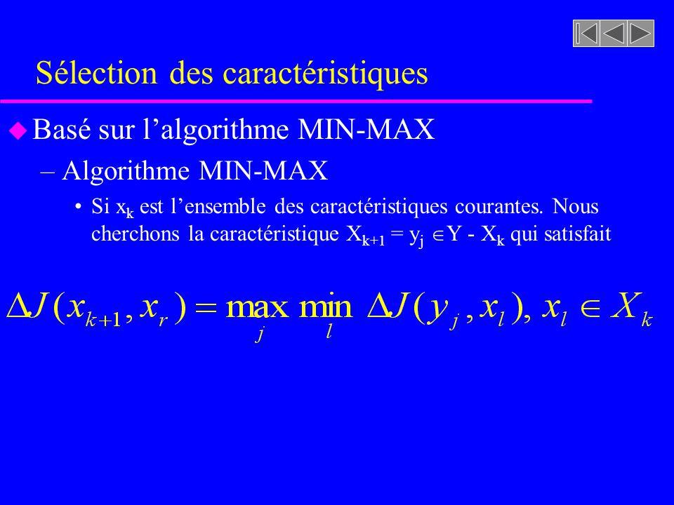 Sélection des caractéristiques u Basé sur lalgorithme MIN-MAX –Algorithme MIN-MAX Si x k est lensemble des caractéristiques courantes. Nous cherchons