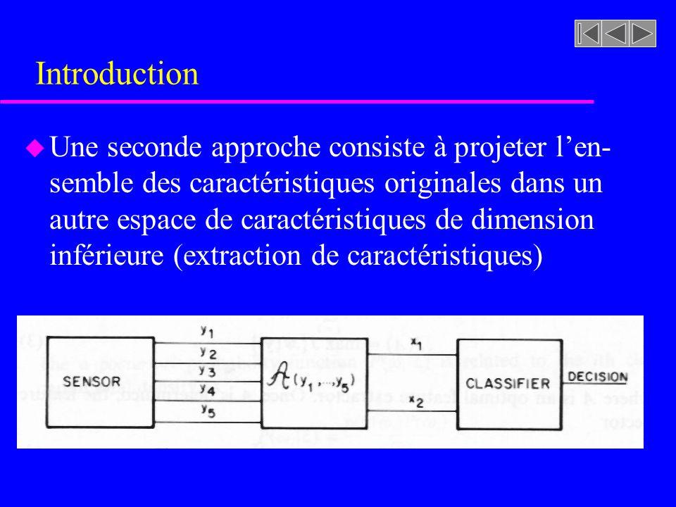 Introduction u Pour résoudre le problème de sélection ou dextraction de caractéristiques nous devons spécifier: –Les critères dévaluation des caractéristiques –La dimension des espaces de caractéristiques –La procédure de recherche optimale –Le type de transformation (extraction)