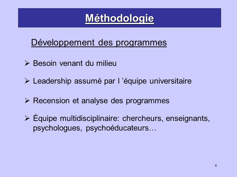 5 Méthodologie Année 1: développement et validation Année 2: implantation et formation Année 3: évaluation d implantation et des effets Développement des programmes