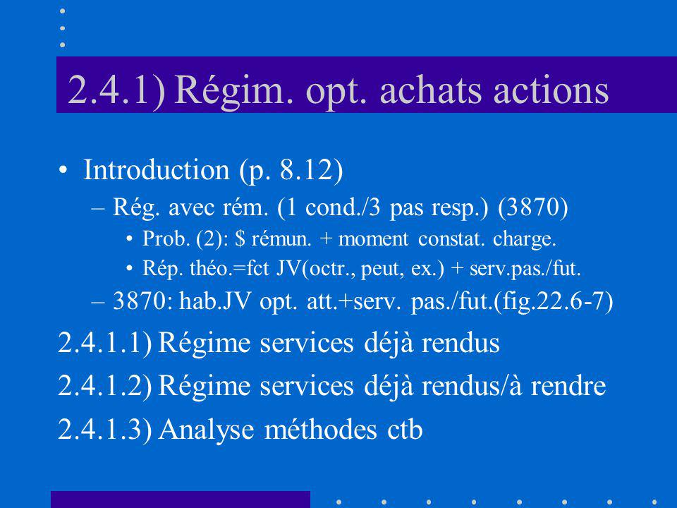 2.4.1) Régim. opt. achats actions Introduction (p.