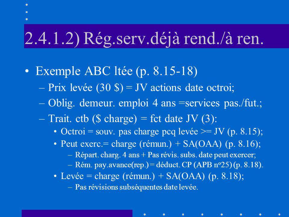 2.4.1.2) Rég.serv.déjà rend./à ren. Exemple ABC ltée (p. 8.15-18) –Prix levée (30 $) = JV actions date octroi; –Oblig. demeur. emploi 4 ans =services