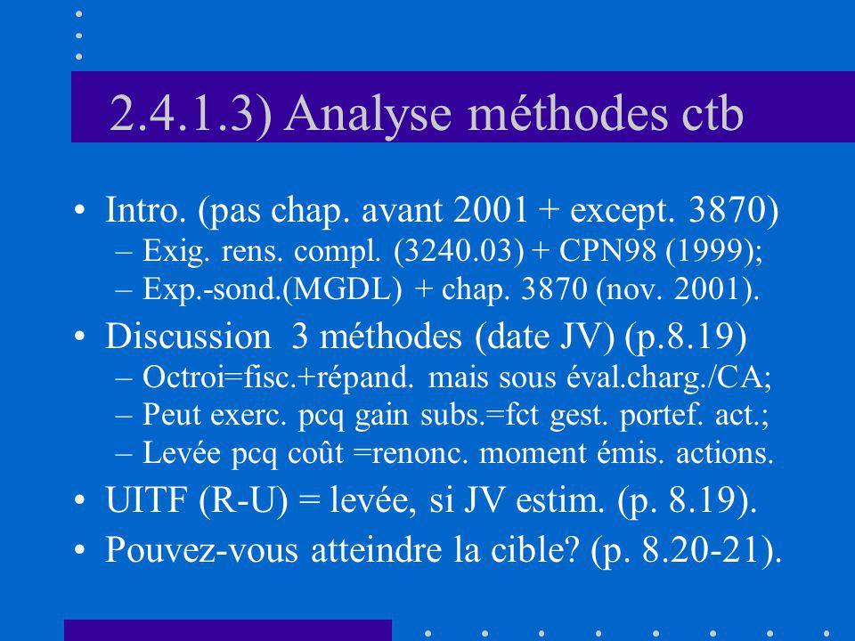 2.4.1.3) Analyse méthodes ctb Intro. (pas chap. avant 2001 + except. 3870) –Exig. rens. compl. (3240.03) + CPN98 (1999); –Exp.-sond.(MGDL) + chap. 387