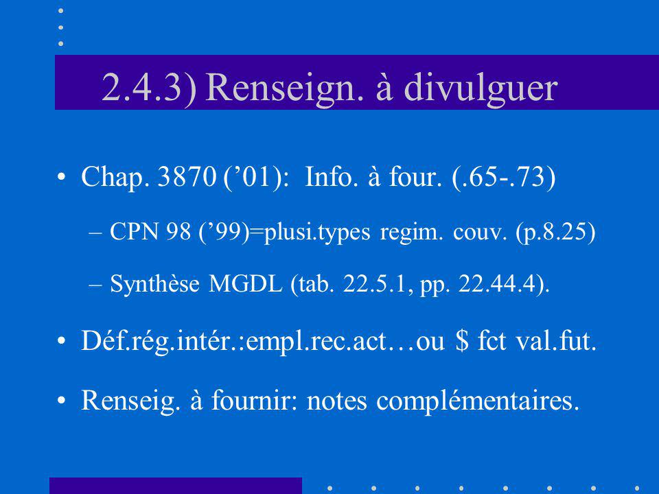 2.4.3) Renseign. à divulguer Chap. 3870 (01): Info. à four. (.65-.73) –CPN 98 (99)=plusi.types regim. couv. (p.8.25) –Synthèse MGDL (tab. 22.5.1, pp.