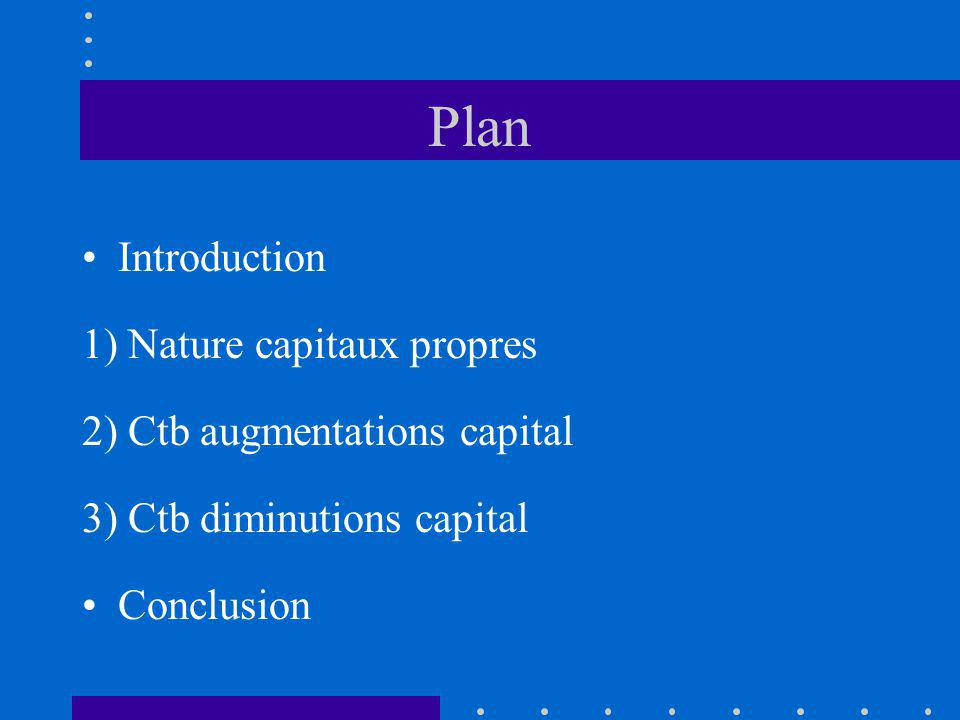 Plan Introduction 1) Nature capitaux propres 2) Ctb augmentations capital 3) Ctb diminutions capital Conclusion