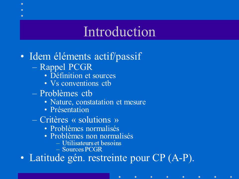 Introduction Idem éléments actif/passif –Rappel PCGR Définition et sources Vs conventions ctb –Problèmes ctb Nature, constatation et mesure Présentati