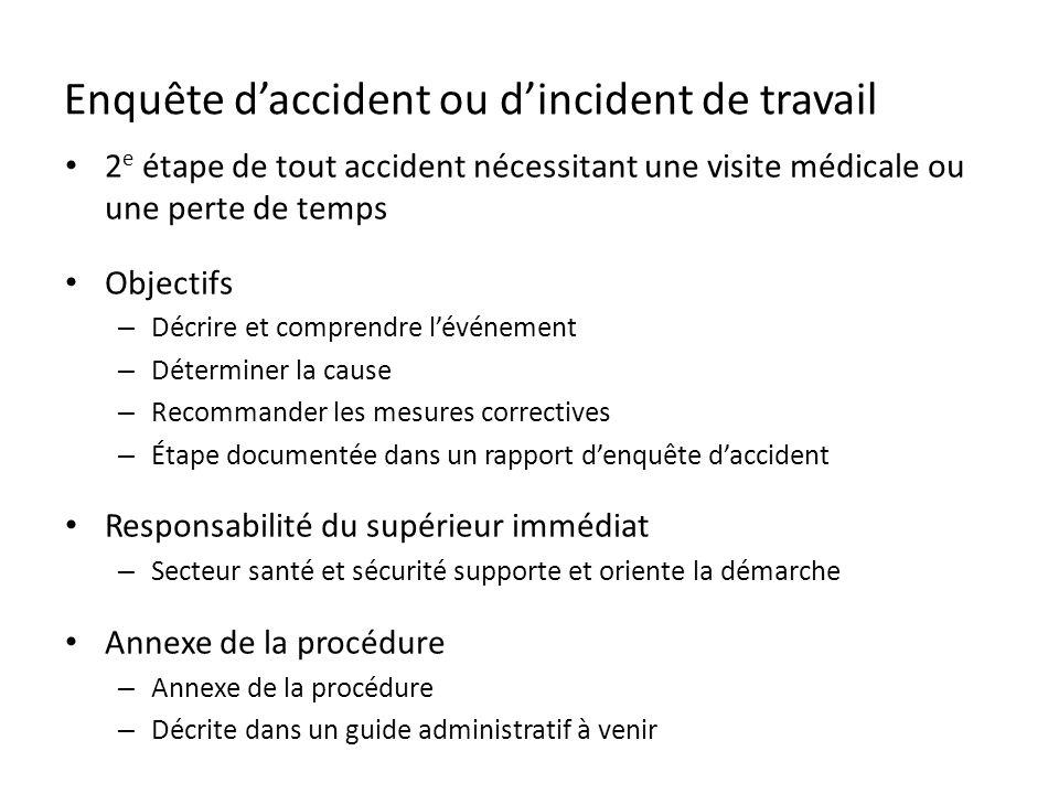 Enquête daccident ou dincident de travail 2 e étape de tout accident nécessitant une visite médicale ou une perte de temps Objectifs – Décrire et comp