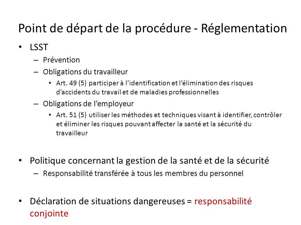 Point de départ de la procédure - Réglementation LSST – Prévention – Obligations du travailleur Art. 49 (5) participer à lidentification et léliminati