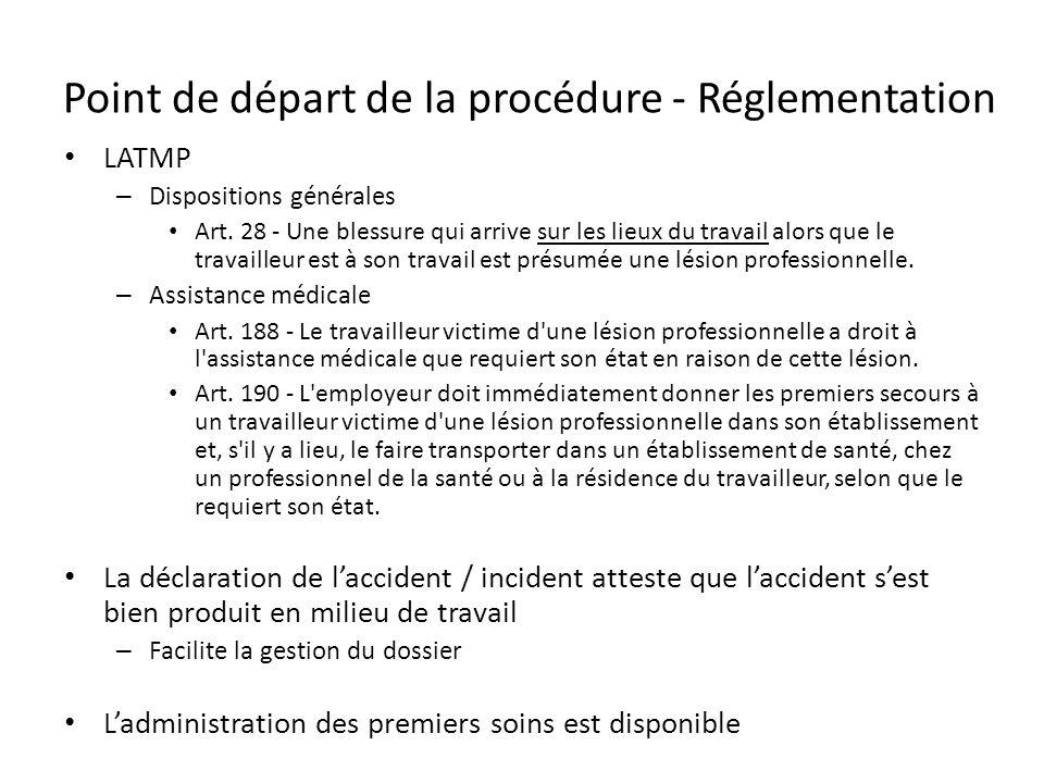 Point de départ de la procédure - Réglementation LATMP – Dispositions générales Art. 28 - Une blessure qui arrive sur les lieux du travail alors que l