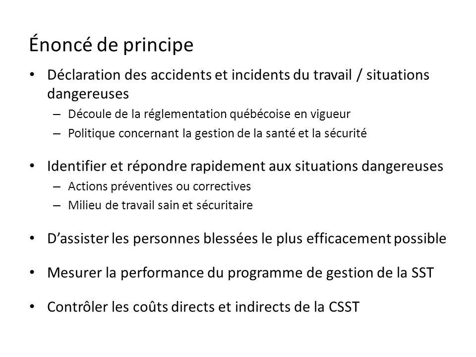 Énoncé de principe Déclaration des accidents et incidents du travail / situations dangereuses – Découle de la réglementation québécoise en vigueur – P