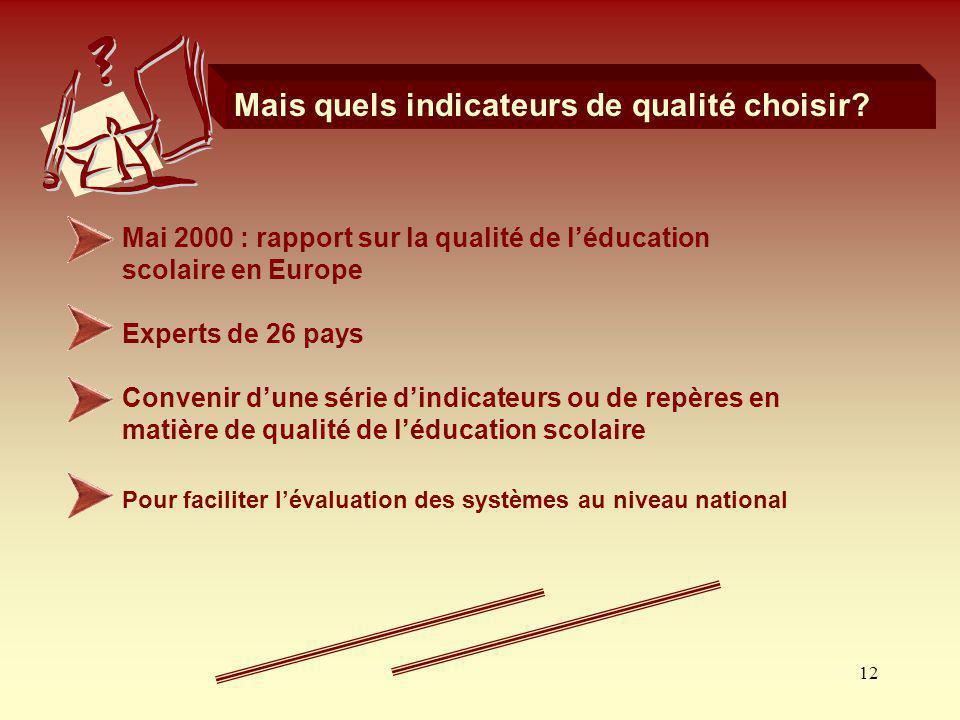 12 Mais quels indicateurs de qualité choisir? Mai 2000 : rapport sur la qualité de léducation scolaire en Europe Experts de 26 pays Convenir dune séri