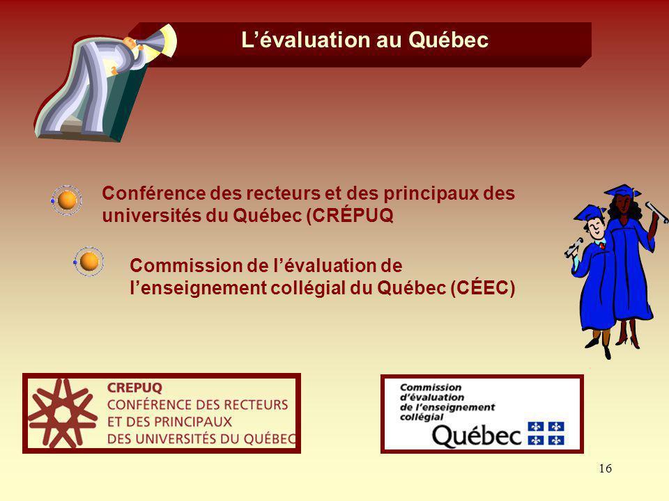 16 Lévaluation au Québec Commission de lévaluation de lenseignement collégial du Québec (CÉEC) Conférence des recteurs et des principaux des universit