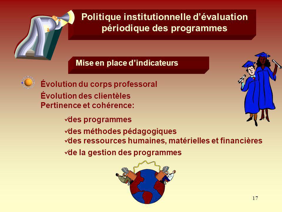 17 Politique institutionnelle dévaluation périodique des programmes Pertinence et cohérence: de la gestion des programmes Mise en place dindicateurs É