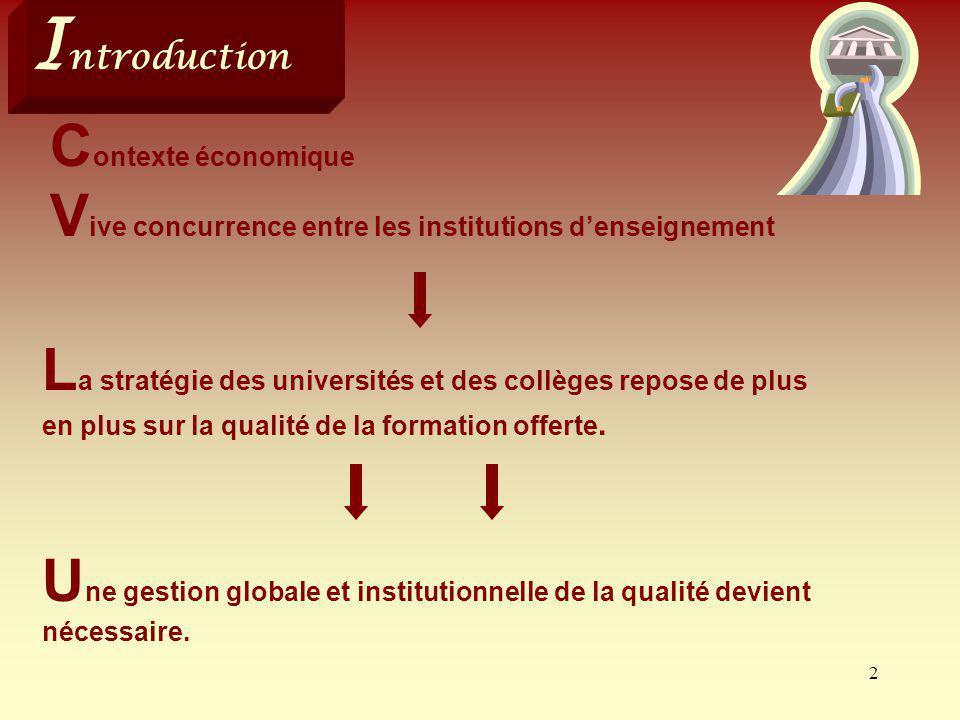 2 U ne gestion globale et institutionnelle de la qualité devient nécessaire. I ntroduction C ontexte économique V ive concurrence entre les institutio
