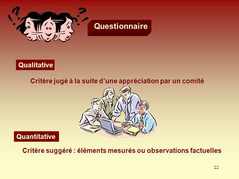 22 Questionnaire Qualitative Critère jugé à la suite dune appréciation par un comité Quantitative Critère suggéré : éléments mesurés ou observations f