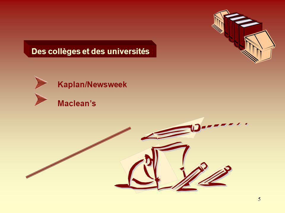 5 Macleans Des collèges et des universités : Kaplan/Newsweek