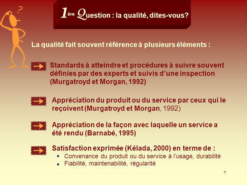 7 Satisfaction exprimée (Kélada, 2000) en terme de : Convenance du produit ou du service à lusage, durabilité Fiabilité, maintenabilité, régularité 1