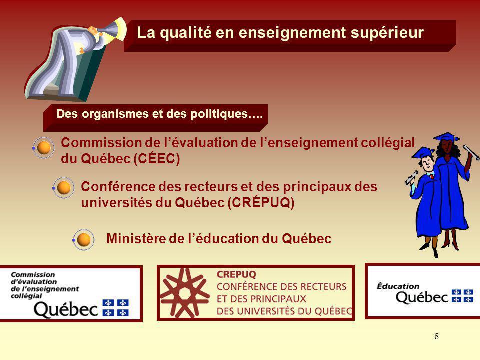 8 La qualité en enseignement supérieur Des organismes et des politiques…. Commission de lévaluation de lenseignement collégial du Québec (CÉEC) Confér