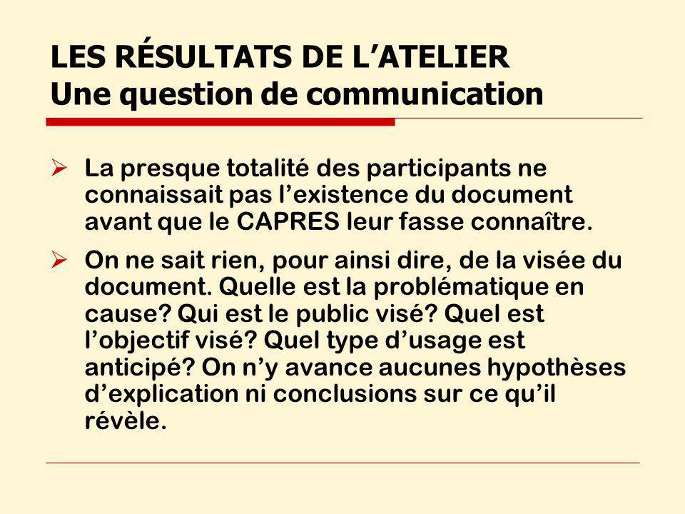 LES RÉSULTATS DE LATELIER Une question de communication La presque totalité des participants ne connaissait pas lexistence du document avant que le CAPRES leur fasse connaître.