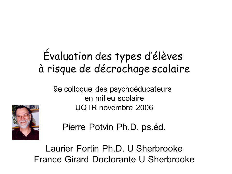 Évaluation des types délèves à risque de décrochage scolaire 9e colloque des psychoéducateurs en milieu scolaire UQTR novembre 2006 Pierre Potvin Ph.D