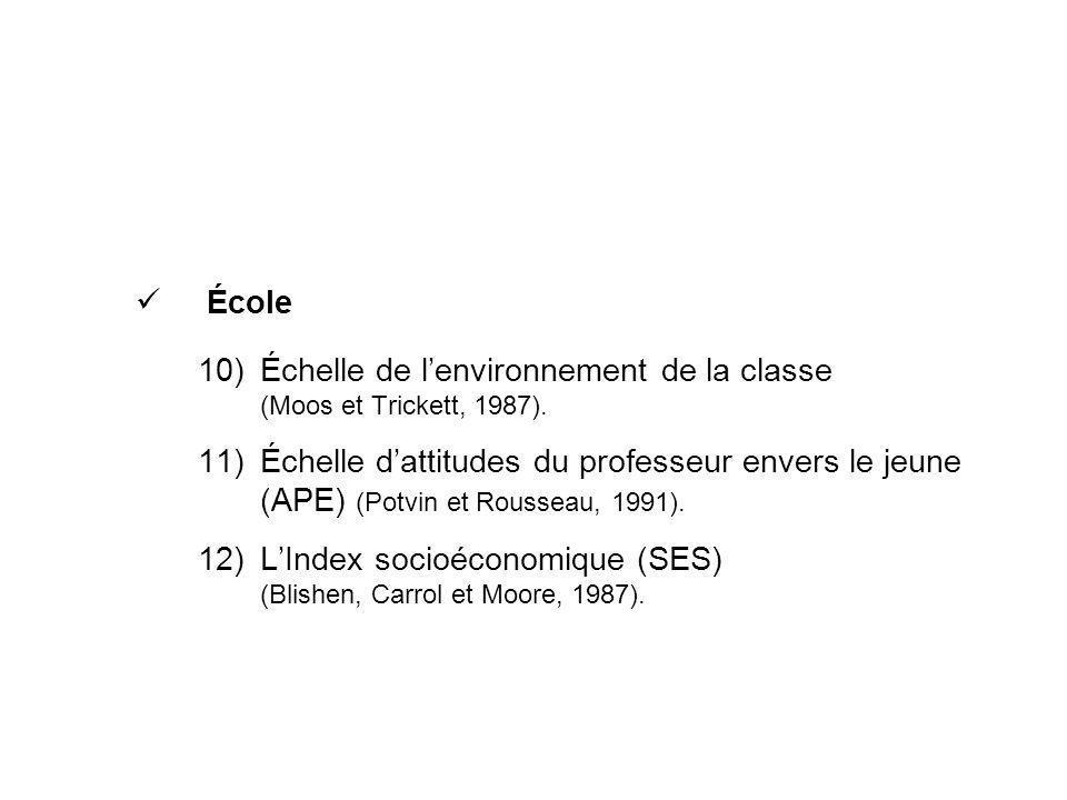 École 10)Échelle de lenvironnement de la classe (Moos et Trickett, 1987). 11)Échelle dattitudes du professeur envers le jeune (APE) (Potvin et Roussea
