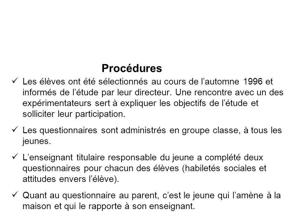 Procédures Les élèves ont été sélectionnés au cours de lautomne 1996 et informés de létude par leur directeur. Une rencontre avec un des expérimentate