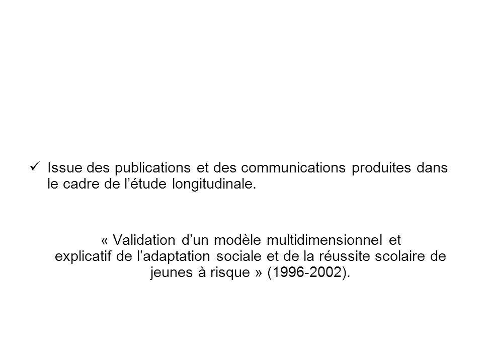 Issue des publications et des communications produites dans le cadre de létude longitudinale. « Validation dun modèle multidimensionnel et explicatif