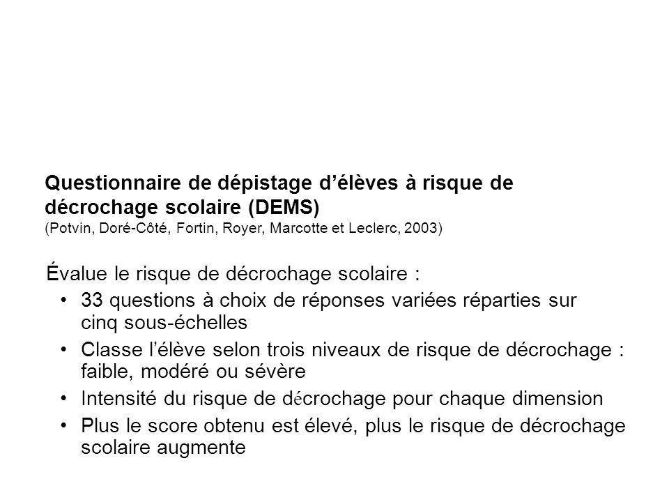 Questionnaire de dépistage délèves à risque de décrochage scolaire (DEMS) (Potvin, Doré-Côté, Fortin, Royer, Marcotte et Leclerc, 2003) Évalue le risq