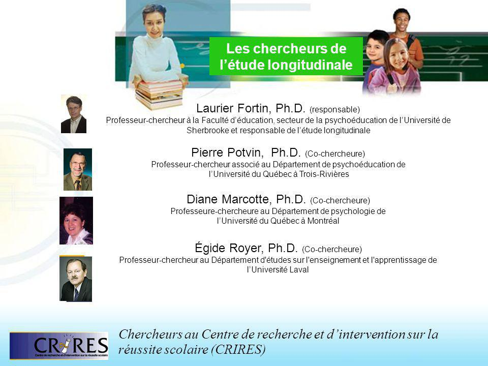 Les chercheurs de létude longitudinale Laurier Fortin, Ph.D. (responsable) Professeur-chercheur à la Faculté déducation, secteur de la psychoéducation