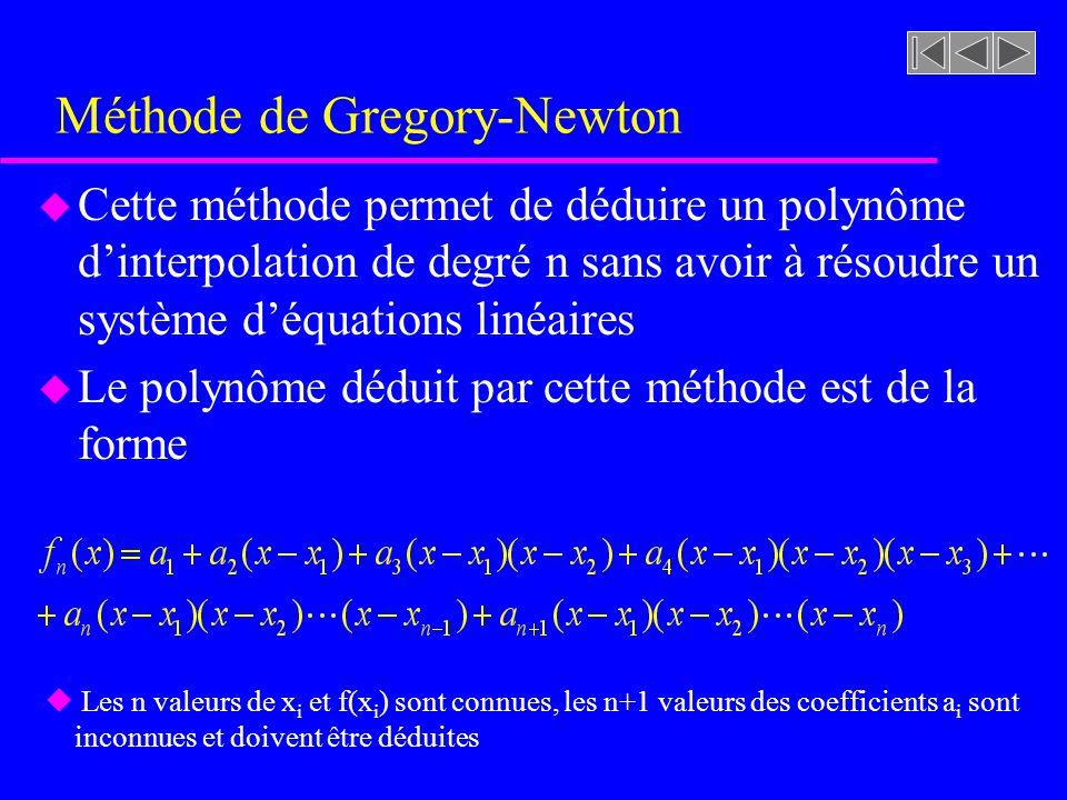 Méthode de Gregory-Newton u Cette méthode permet de déduire un polynôme dinterpolation de degré n sans avoir à résoudre un système déquations linéaires u Le polynôme déduit par cette méthode est de la forme u Les n valeurs de x i et f(x i ) sont connues, les n+1 valeurs des coefficients a i sont inconnues et doivent être déduites