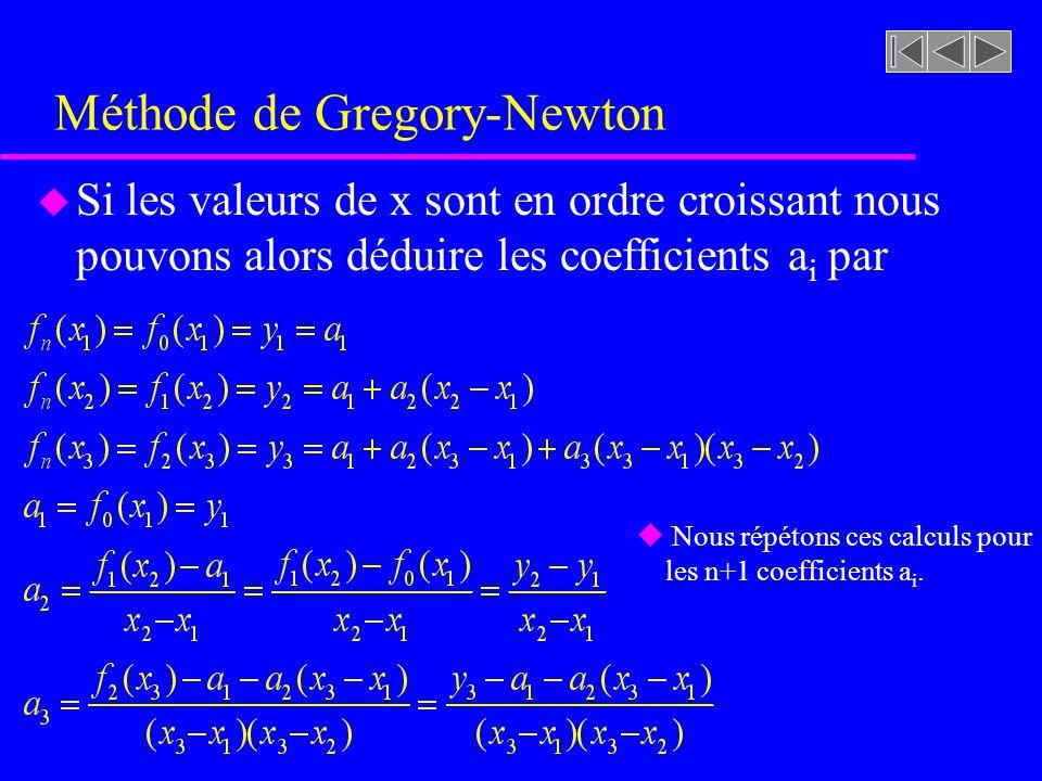 Méthode de Gregory-Newton u Si les valeurs de x sont en ordre croissant nous pouvons alors déduire les coefficients a i par u Nous répétons ces calculs pour les n+1 coefficients a i.