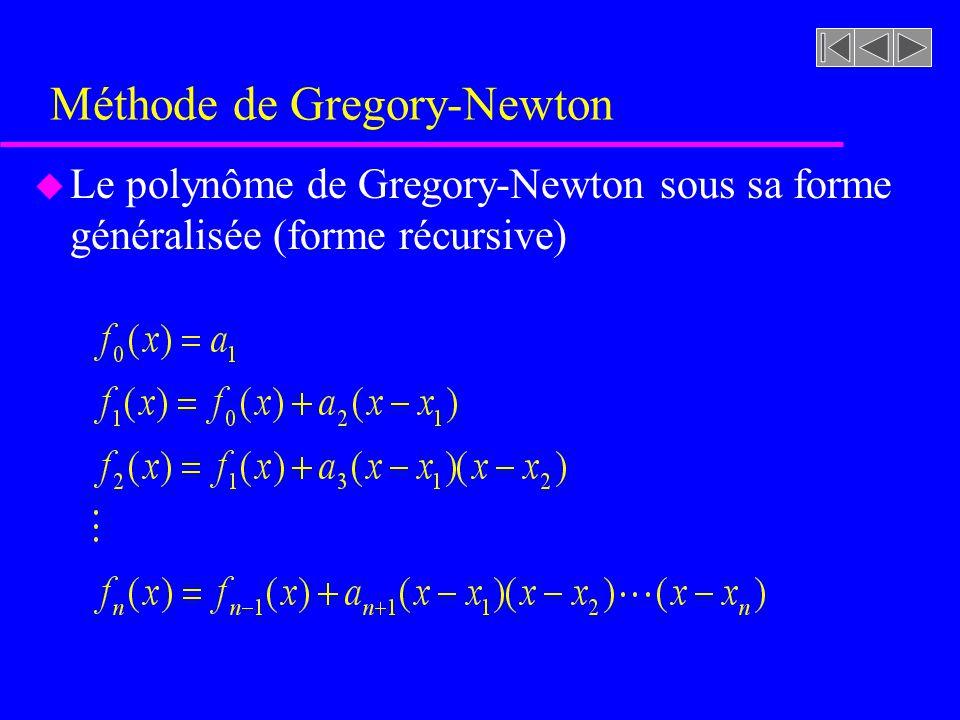 Méthode de Gregory-Newton u Le polynôme de Gregory-Newton sous sa forme généralisée (forme récursive)