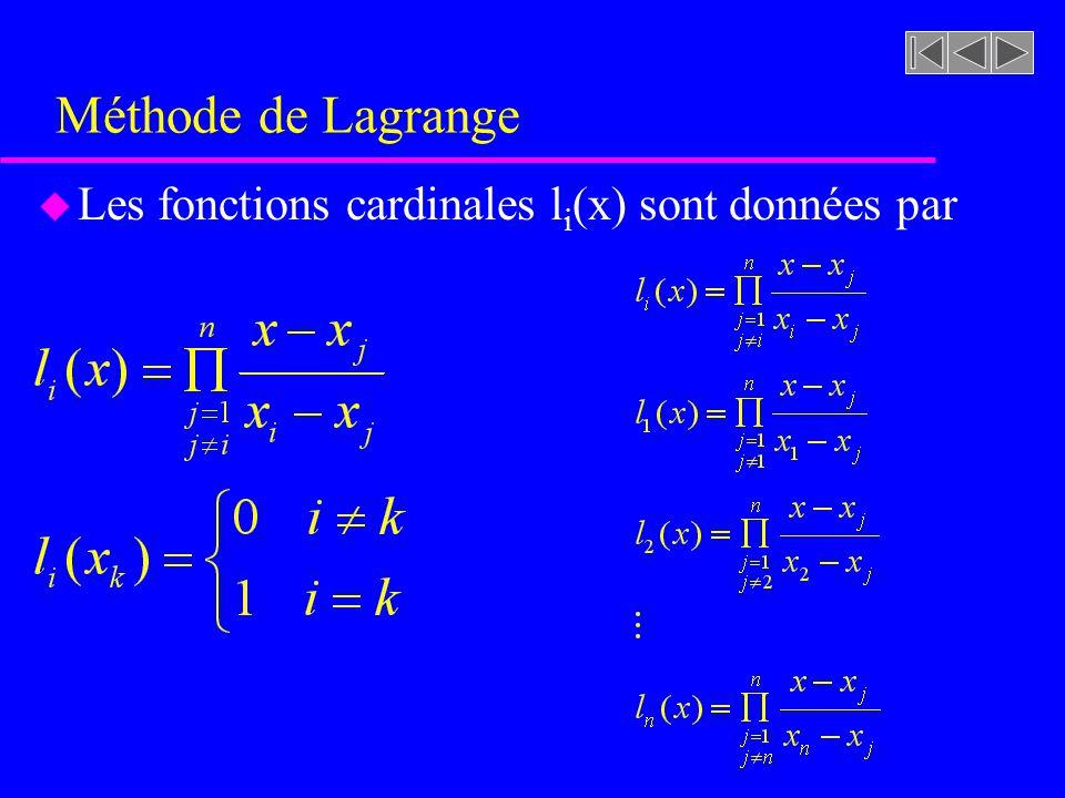 Méthode de Lagrange u Les fonctions cardinales l i (x) sont données par
