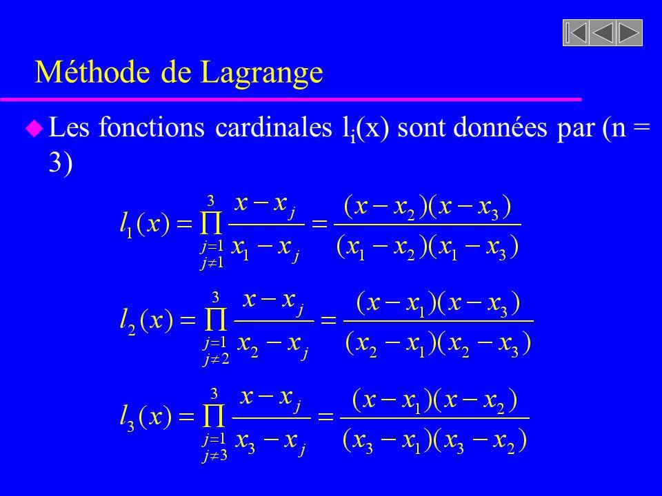 Méthode de Lagrange u Les fonctions cardinales l i (x) sont données par (n = 3)