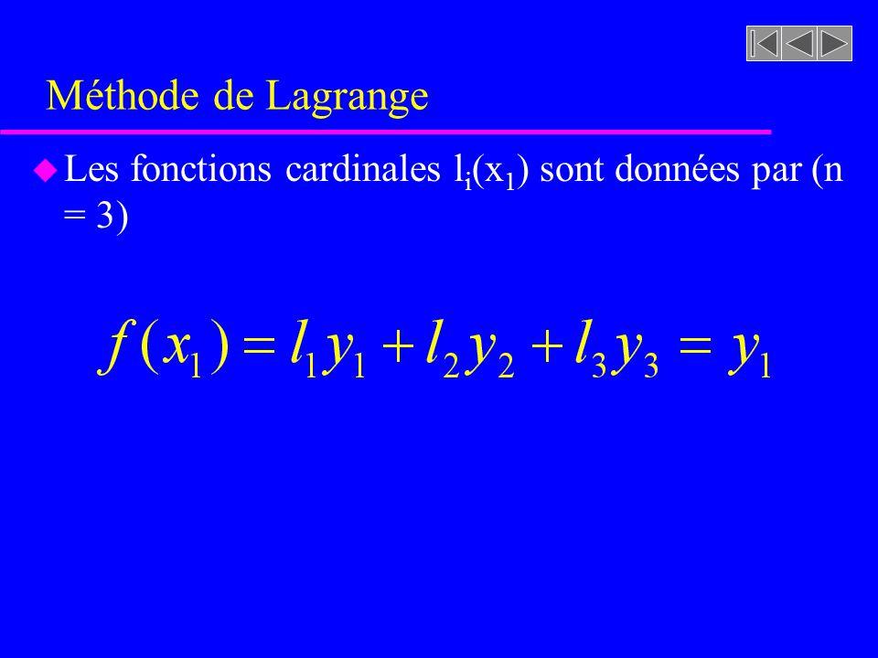 Méthode de Lagrange u Les fonctions cardinales l i (x 1 ) sont données par (n = 3)