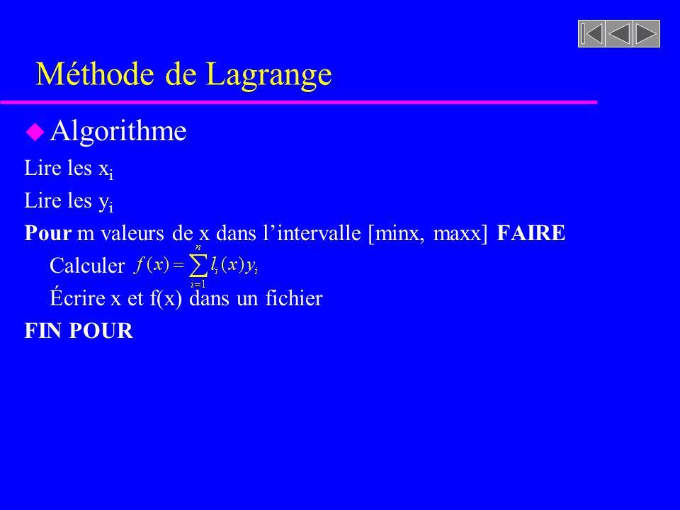 Méthode de Lagrange u Algorithme Lire les x i Lire les y i Pour m valeurs de x dans lintervalle [minx, maxx] FAIRE Calculer Écrire x et f(x) dans un fichier FIN POUR
